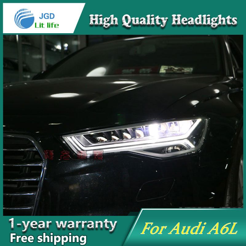 Car styling case for Audi A6L A6 Headlights 2012-2017 Headlights LED Headlight DRL Lens Double Beam HID Free shipping hireno headlamp for audi a6 a6l c7 2012 17 headlight headlight assembly led drl angel lens double beam hid xenon 2pcs
