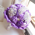 Elegant Customized Purple Bridal Wedding Bouquet With Pearl Beaded Brooch Silk Roses,Romantic Wedding Colorful Bride 's Bouquet