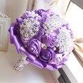 Elegante Personalizado Roxo de Noiva Buquê De Casamento Com Broche de Pérolas Com Cercadura Rosas De Seda, Casamento Romântico Colorido Buquê da Noiva