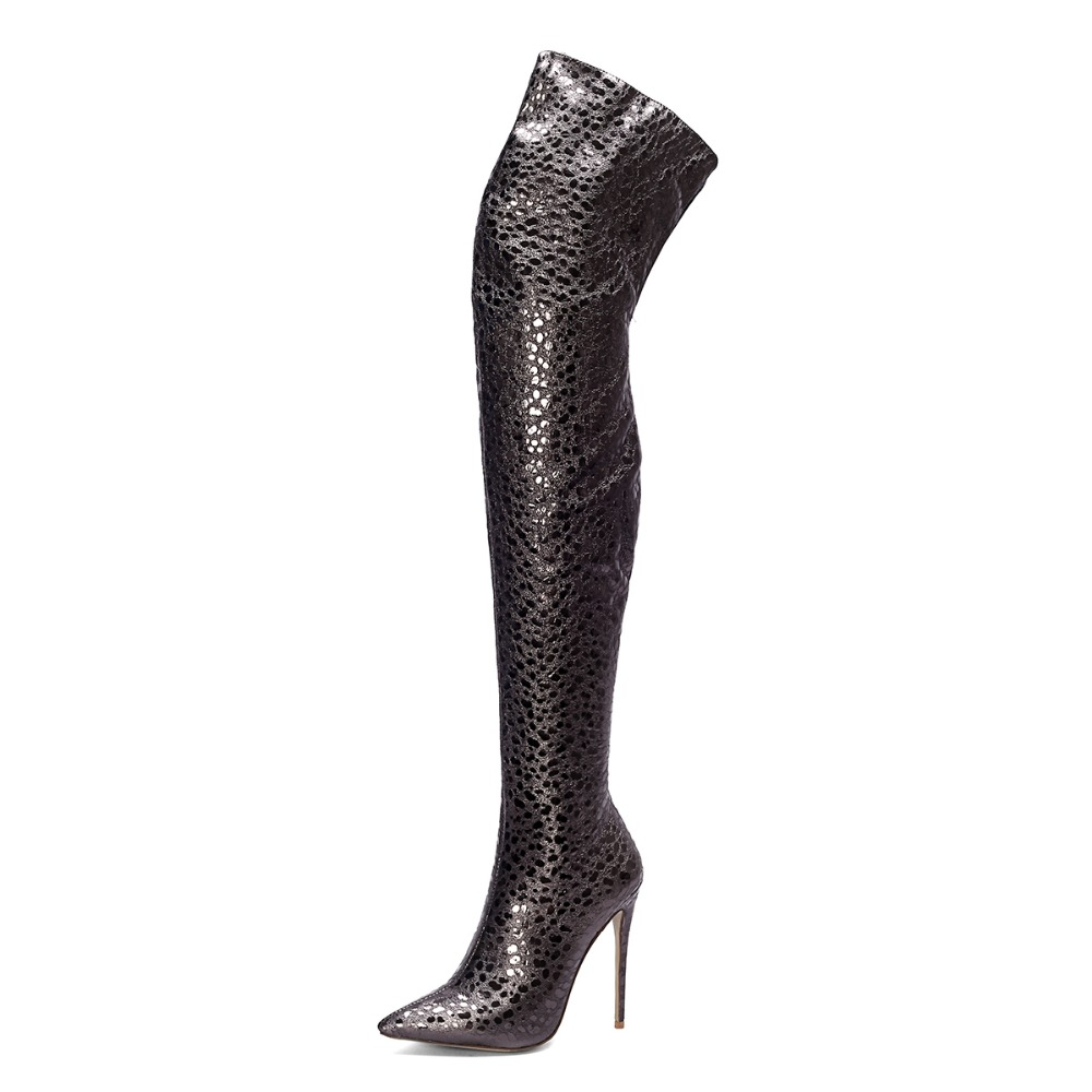 Europe sexy pointed toe thigh high boots Black print leather over the knee boots 12 cm super high heels shoes women winter 2018 hot boots women sexy black thigh high boots peep toe soft leather back zip high heels over the knee boots gladiator sandal boots