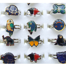 5pcs Butterfly Flower Shaped Color Change Rings Fashion Jewelry For Women Mood 16-18mm Adjustable Size