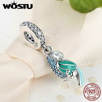 WOSTU 100 925 Sterling Silver Tropical Parrot Charm Beads Fit Original Pandora Bracelet Pendant Authentic Fine