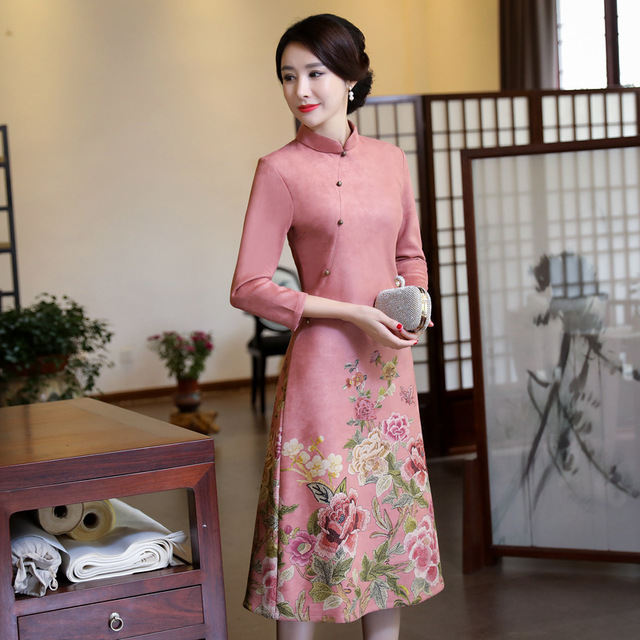 Velvet Dress Women Winter 2018 Flora Print Chinese Traditional Dress Long Sleeve Cheongsam Qipao Chinese Oriental Long Dresses