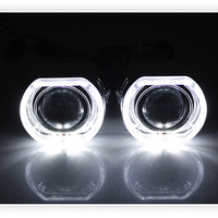 DUU X5 Square LED Angel Eyes Devil Halo DRL Bi Xenon Lens Car Projector Headlight HID Auto Tuning Kit H4 H7 Use H1 Bulbs