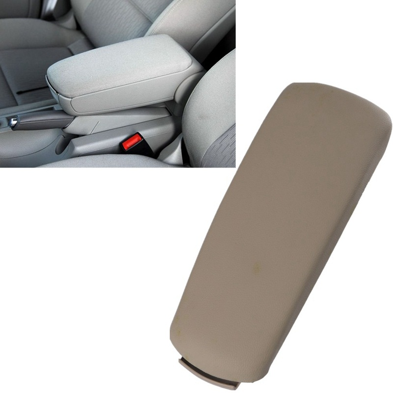 Beige Leather Console Box Armrest Lid Cover For Audi A4 B7