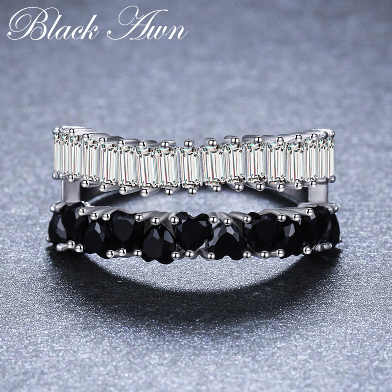2018 New Romantic 925 Sterling Silver Fine Jewelry Engagement Black Spinel Engagement  Ring For Women Anillos Mujer G071