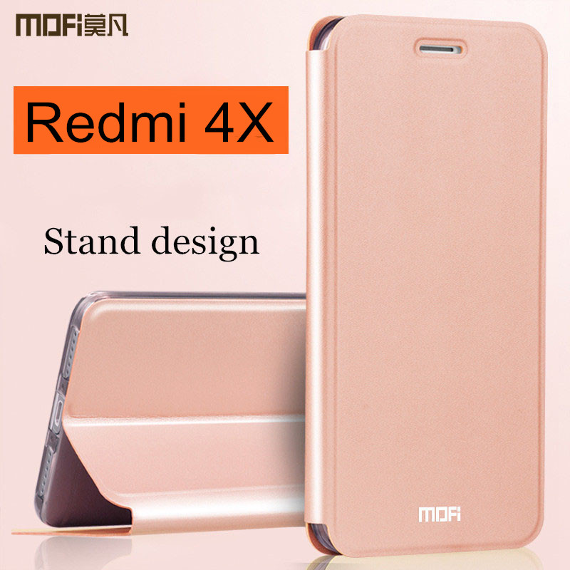 Xiaomi Redmi 4X fall abdeckung Redmi4x fall flip-cover zurück leder silikon-harte coque MOFi globale version xiaomi Redmi 4x fall