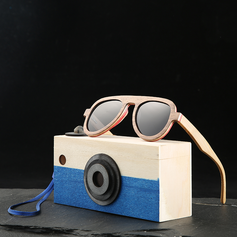 Angcen Pilot Sonnenbrille Polarisierte Kinder Sonnenbrille Jungen Und Mädchen Vintage Holz Bambus Sonnenbrille Mit Holz Glas Fall Verkaufspreis