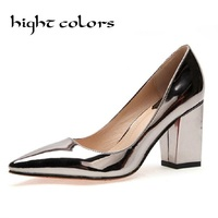 European And American Streetwear Women Gold Silver Dress Bridal Shoes Rivets Studs Court Shoe 14cm High