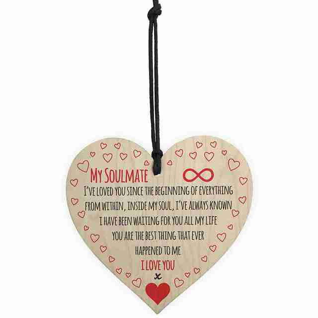US $1 89 |HOT SALE My Soulmate I Love You Wooden Hanging Heart Plaque Cute  Valentines Day Gift Sign-in Plaques & Signs from Home & Garden on