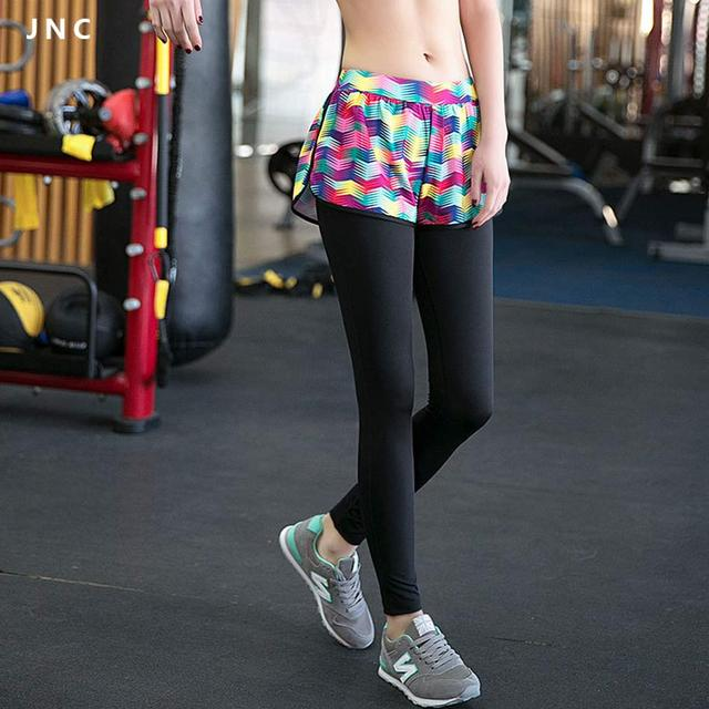 242f162f9d 2016 New Workout Skirted Leggings Fake Two-Piece Shorts Colorful Stripe  Compression Running Tights Sport Woman Yoga Pants