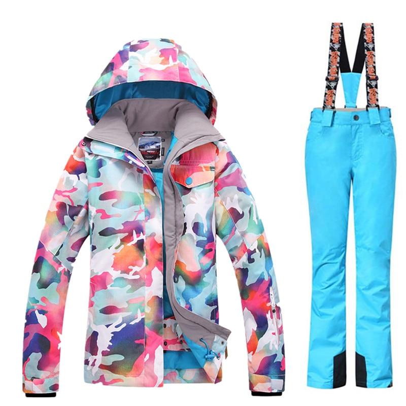 GSOU neige marque Ski costumes femmes veste de Ski + pantalon de ski ensembles de Camouflage hiver extérieur imperméable coupe vent garder au chaud veste de neige - 5