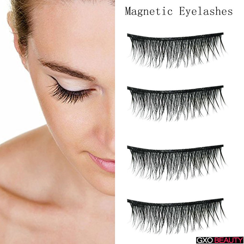 GXO BEAUTY 4 Pcs/Pair Convenient Magnetic Fake Eyelashes Extention Eye Beauty Makeup Accessories Soft Hair False Eyelashes