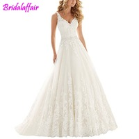 Lace V Neck Wedding Dress Beaded Bridal Dresses Appliques Straps Wedding Gown vestido de noiva 2018 princess wedding dresses
