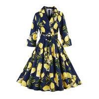 Sisjuly Vintage Dress 1950s Spring Women Dark Blue Party Dress White Lemon Prints Elegant Sashes Autumn