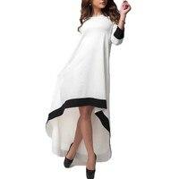ZANZEA Fashion Women Dress 2018 Autumn Long Maxi Party Dresses Patchwork Asymmetrical O Neck Vestidos Casual