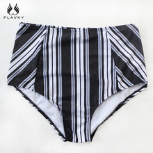 Off Shoulder Sexy White Black Striped High Waist Bikini Swimsuit