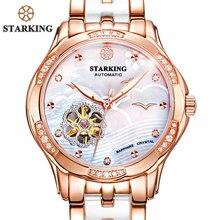 STARKING 34mm Automatische Uhr Roségold Stahl-gehäuse Vogue Kleid Uhren Skelett Transparent Uhr Frauen Mechanische Armbanduhren