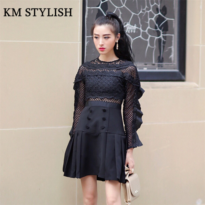 Gentle New Fashion Women Clothes T-shirt Black Sexy Women Summer Pespective Long Sleeve Lace Mesh T-shirt Top Quality First T-shirts