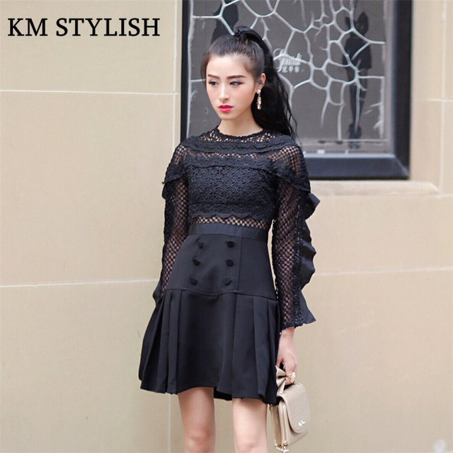 017e850dae Women s Solid Color Lace Patchwork Ruffe Long-sleeve O-neck One-piece Dress  Button Basic A-line Dress Black