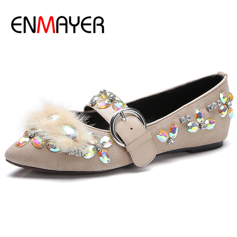 ФОТО ENMAYER Black Shoes Woman Buckle Strap Ballet Flats Round Toe Crystal Charms Cow Suede Party Shoes in Womens Flats