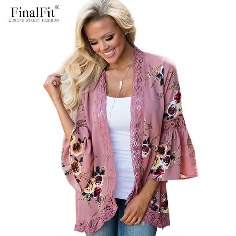Floral Kimono Cardigan Summer Chiffon Lace Trim Beach Sun Wrap Women Kimono Shirt Tops