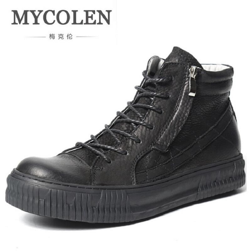 MYCOLEN 2017 Fashion Winter Men Boots British Style Working Safety Boots Casual Winter Men Shoes Male Black Leather Ankle Boots serene handmade winter warm socks boots fashion british style leather retro tooling ankle men shoes size38 44 snow male footwear