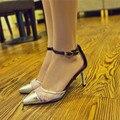 Леди большой размер 4 - 12 сексуальная летом сетки пряжки ремень из мягкой кожи острым носом тонкие босоножки на каблуке женской обуви туфли на высоком каблуке золото / серебро