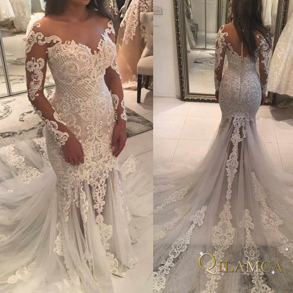 2019 Vintage Lace Mermaid Wedding Dress Turkey Vestido De