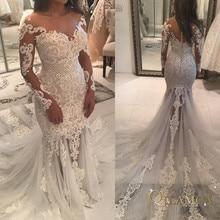 2019 Vintage Lace Mermaid Wedding Dress Turkey Vestido de Novia Pearl Sheer Bridal Gowns Robe mariee Sexy Dresses