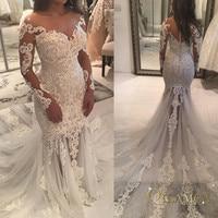 2019 Vintage Lace Mermaid Wedding Dress Turkey Vestido de Novia Pearl Lace Sheer Bridal Gowns Robe mariee Sexy Wedding Dresses