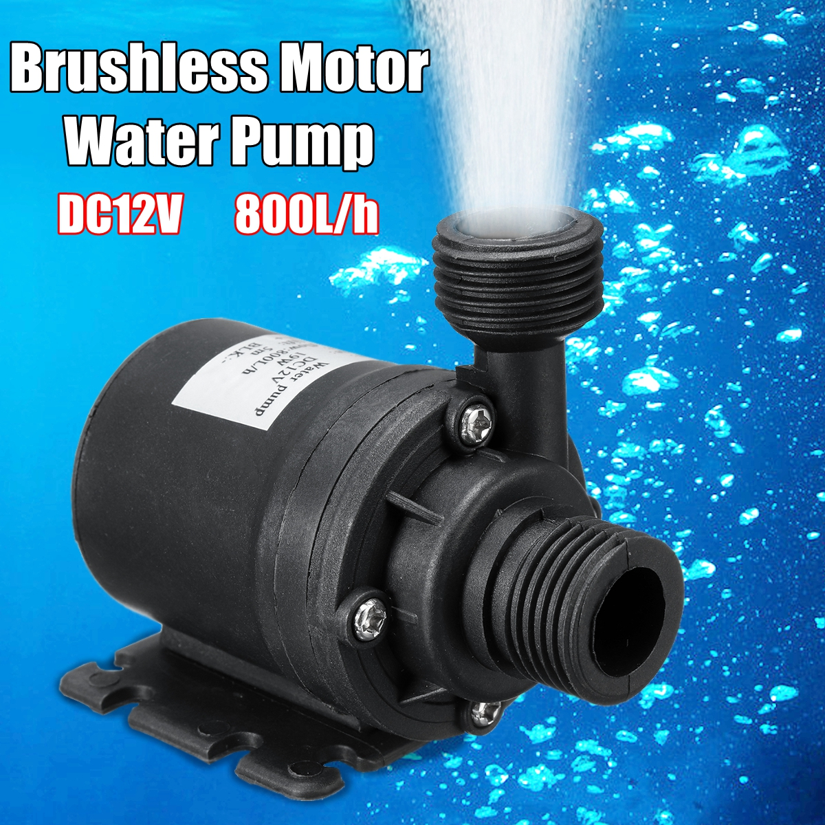 Portable Mini Brushless Motor Ultra-quiet Submersible Water Pump DC 12V 5M 800L/H For Cooling System Fountains Heater