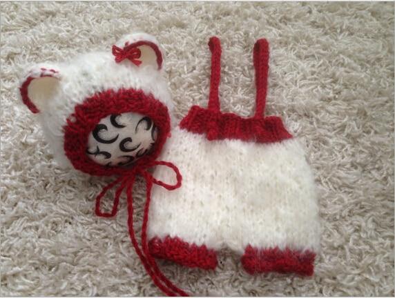 7403baed0c4a Handmade cartoon Animal Bear Newborn crochet baby hat and diaper ...