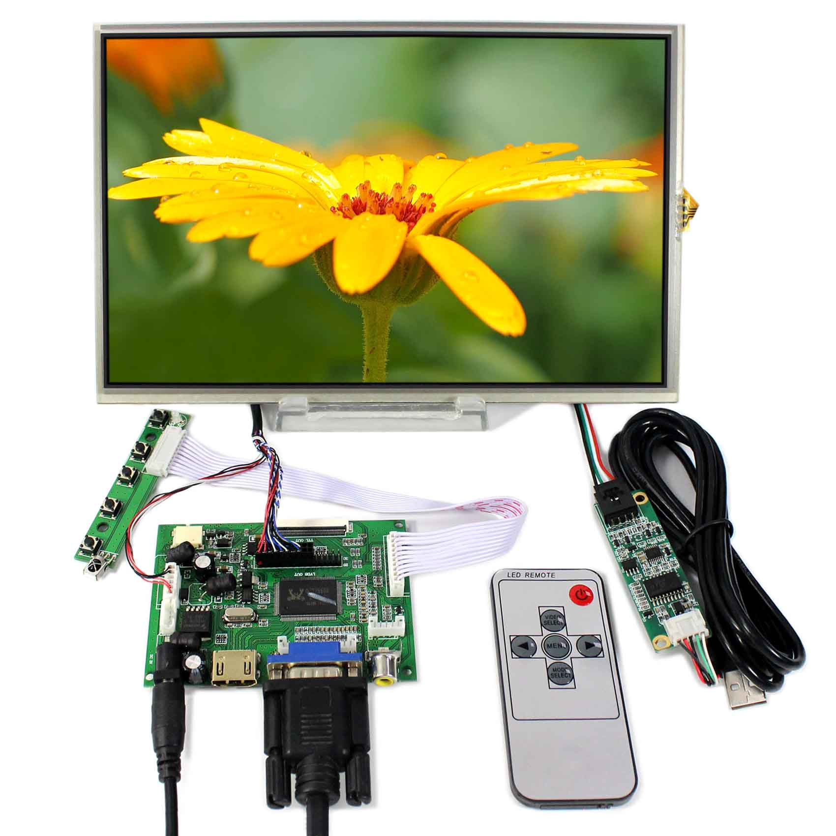 HDMI+VGA+2AV LCD Controller Board With 10.1inch 1280x800 B101EW05 LP101WX1 Touch LCD hdmi dvi vga lcd controller board 10 1inch b101ew05 hsd101pww1 1280 800 lcd panel