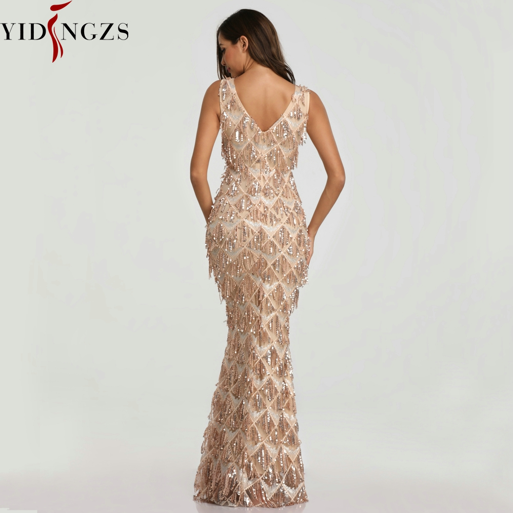 Image 2 - YIDINGZS 2019 Sexy V neck Tassel Sequin Sleeveless Evening Dress Women Elegant Long Evening Party Dress YD633-in Evening Dresses from Weddings & Events