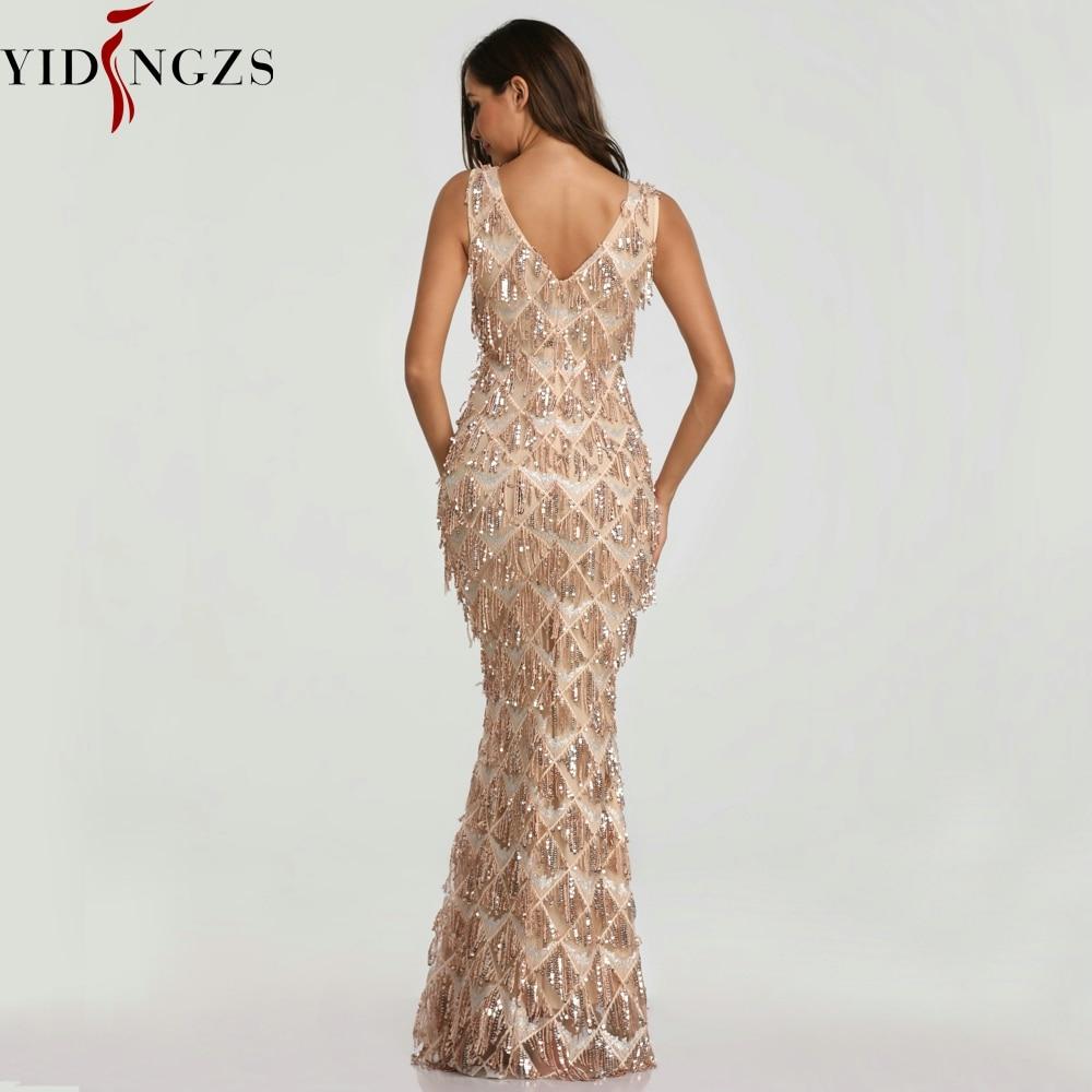 YIDINGZS 2019 Sexy col en v gland Sequin sans manches robe de soirée femmes élégante longue robe de soirée - 2