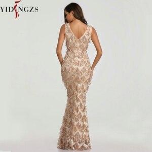 Image 2 - YIDINGZS 2020 seksi v yaka püskül pullu kolsuz akşam elbise kadınlar zarif uzun akşam parti elbise YD633