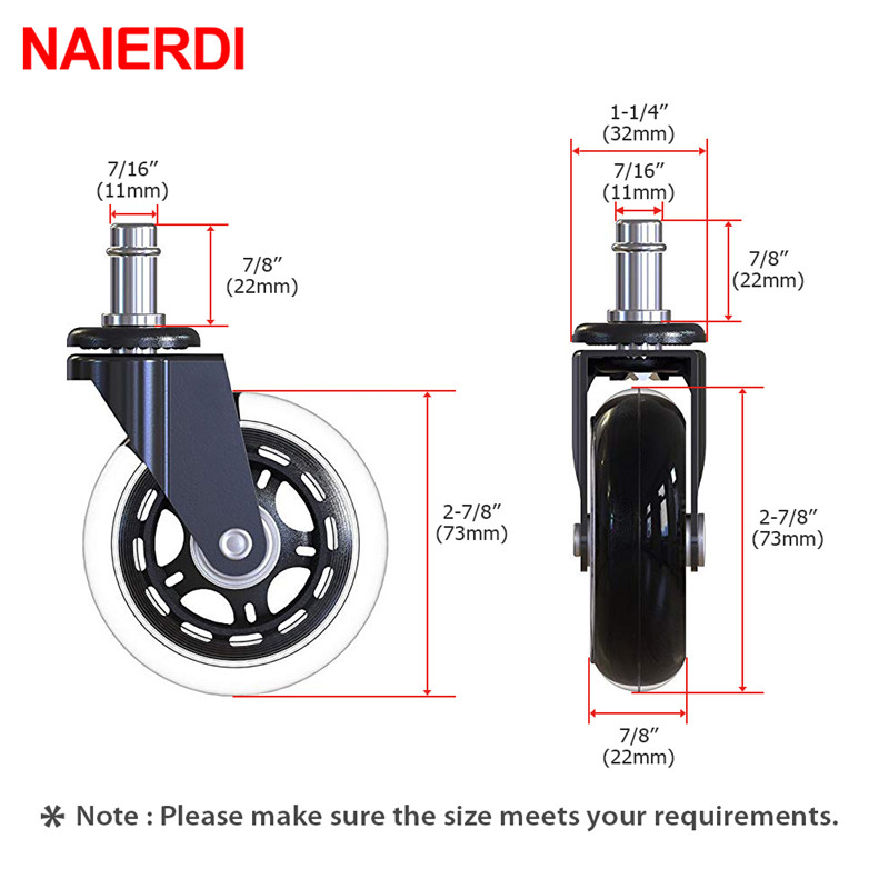 Image 2 - NAIERDI 5PCS Swivel Rubber Caster Wheels 3 Inch Office Chair Caster Wheels Replacement 60KG Soft Safe Rollerblade Style Caster-in Casters from Home Improvement