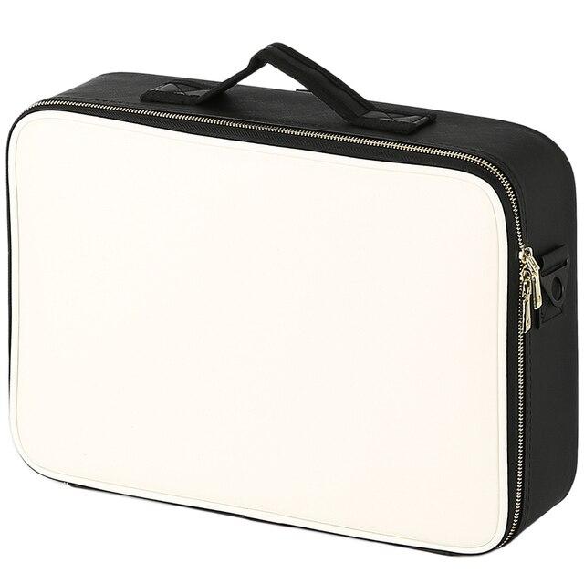 Leather Clapboard Cosmetic Bag Professional Make Up Case Large Capacity Storage Handbag Travel Insert Toiletry Makeup bag 1