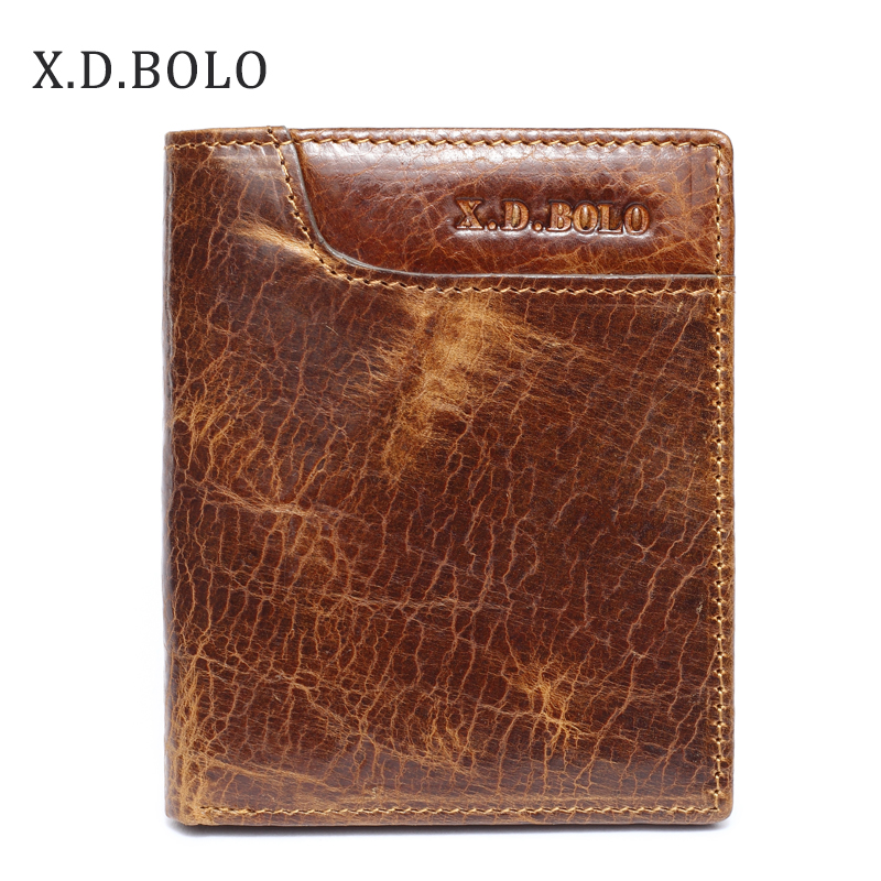XDBOLO Mens Card Holder Vintage Design Oil Wax Genuine Leather Man Small Wallets
