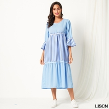 New 2019 Summer Gingham Striped Print Women Dress Spring Three Quarter Length Sleeve A Line Maxi Dress Round Neck Loose Dreess