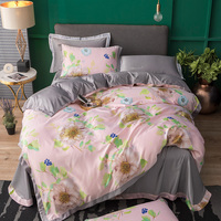 New Soft Silk Satin 4Pcs Bed Sheet Pink Plant Flower Double Simulation Silk Satin Bedding Duvet Cover Pillowcase Queen/King Size