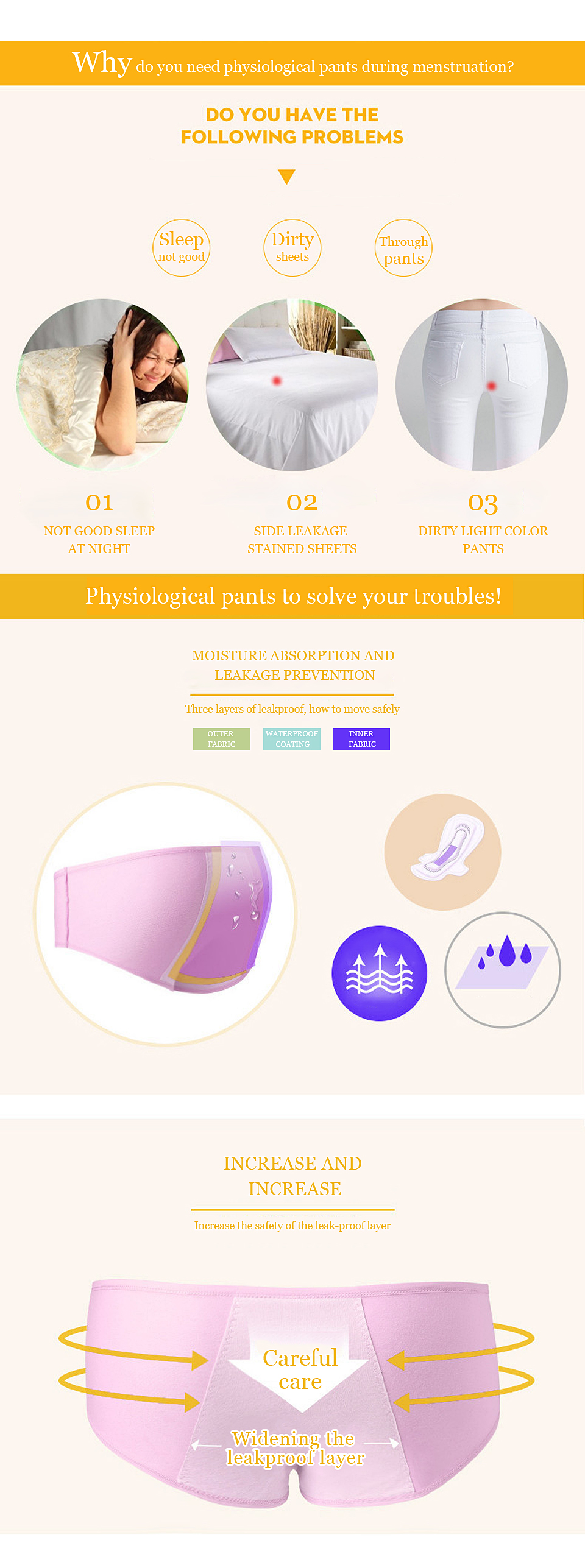 FallSweet Women Period Panties Cotton Leak Proof Menstrual Underwear  Physiological Briefs M L XL