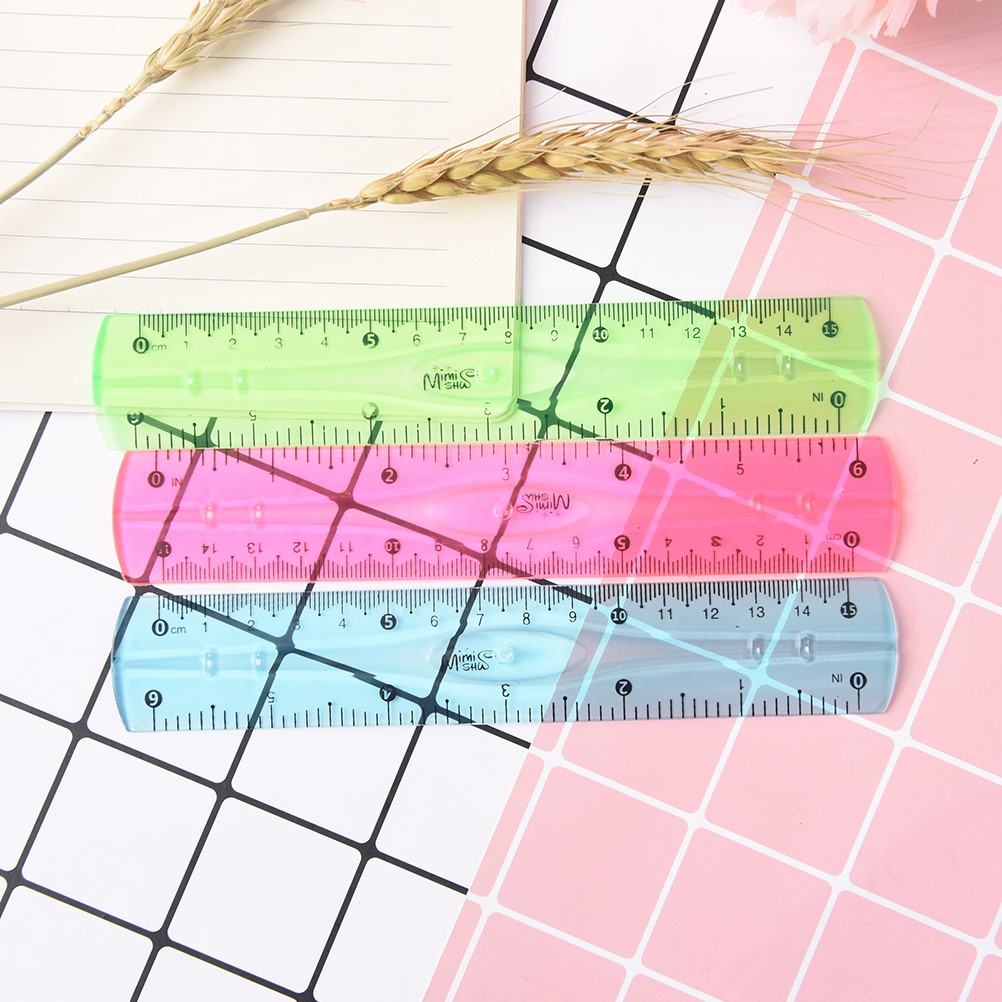 Multicolour Student Flexible Ruler Tape Measure 15cm (6inch) Straight Ruler Office School Supplies