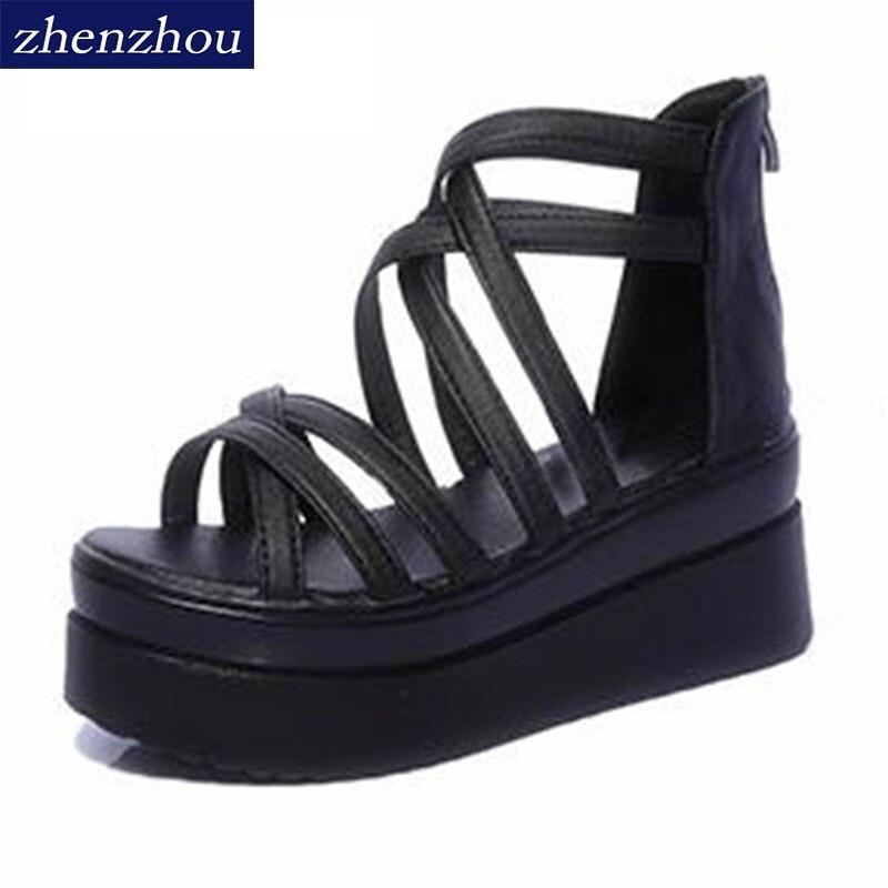30821bfca2953 Women s shoes 2018 summer cross dewy toe women sandals sponge base platform  height with the Roman