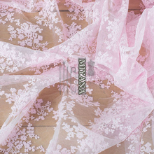 high-end 1yard Width 130CM Organza Embroidery Jacquard Flower Tulle Fabric Mesh for Party Stage Wedding Dress Skirts Home Decora