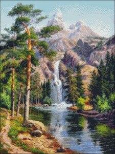 Image 2 - Kit de punto de cruz con cuentas para bordado, manualidades, 14 ct, Color DMC, arte artesanal, decoración hecha a mano, cascada en las montañas