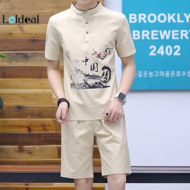 LOLDEAL Men's Costume Casual Cotton Short Sleeve Shorts Set Print Chinese Round Neck Slim Men's T-Shirt Set