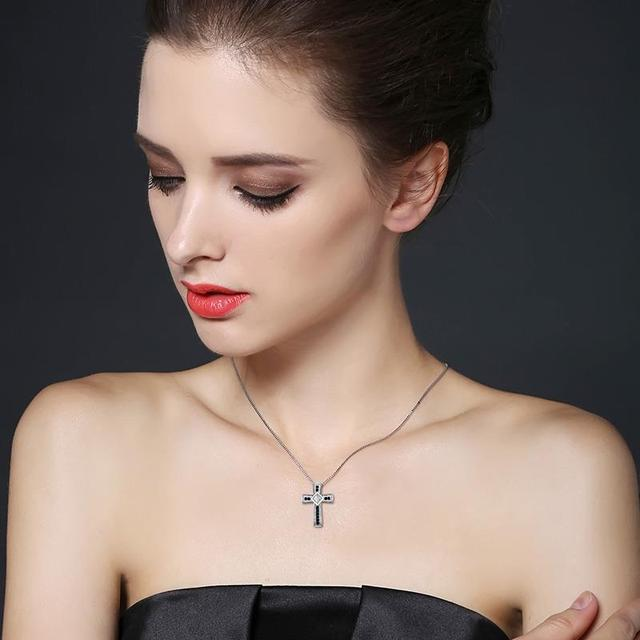 CrossNecklace 925 Sterling Silver Fine Cross Jewelry Trendy Engagement Necklaces