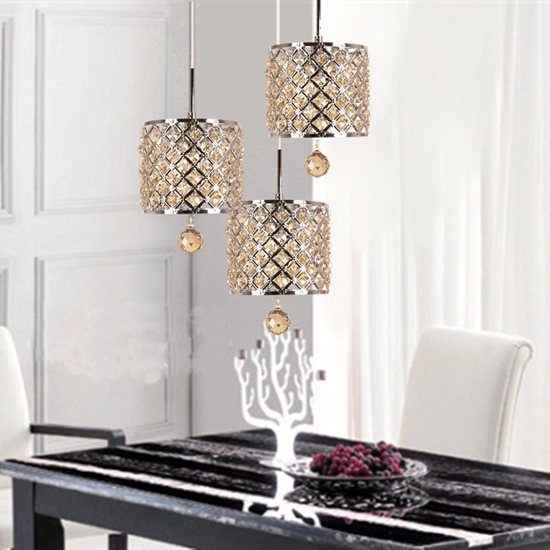 Modern crystal chandelier Nordic luxury villa staircase dining room lamp European simple retro iron lamp restaurant crystal lamp square postmodern simple stainless steel bronze villa luxury led modern crystal chandelier for bedroom